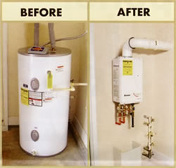 Before and After Tankless Water Heater