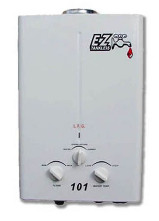 ez 101 tankless water heater propane lpg portable battery powered ignition camping - Tankless Propane Water Heater
